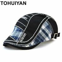 Classic Patchwork Newsboy Cap Men Women Cotton Flat Peaked Caps Ducibill Visor