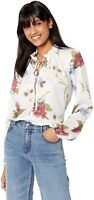Show Me Your Mumu 169174 Womens Long Sleeve Tunic Blouse Floral White Size Small
