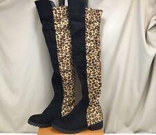 Over Knee Leopard Print /Black Microsuede Pull On Boot Women's SZ EUR 39 US 8.5