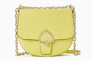 Kate Spade Bag New York Robyn Limelight Yellow Medium Leather Saddle Bag NWT 399