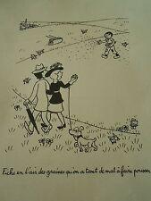 Jean Effel Fiche en l'air des graines tant de mal à faire pousser Humour Print
