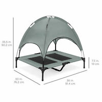 """36"""" Gray Raised Elevated Mesh Cooling Dog Bed Canopy Tent Sun Shade Carry Bag"""