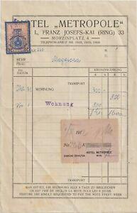 1912 WIEN  HOTEL METROPOLE RECEIPT