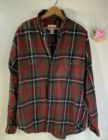 Eddie Bauer Green/Red Plaid Mens XL Flannel Shirt