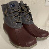 Sperry Top Siders Womens Sz.7 Saltwater Corduroy Winter Duck Boot. Grey.