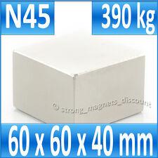 Aimant en néodyme parallélépipédique 60 x 60 x 40 mm / N45 / 390 kg PUISSANCE