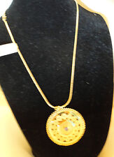 Cubic Zirconia By Dalia ~ Italy, Nwt Gold & 925 Ss Necklace & Pendant Tanzanite