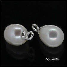 2 Genuine Pearl Sterling Silver Dangle Drop Charm Pendant Beads 7-7.5mm #51847