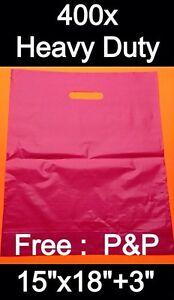 "PINK (400x) HEAVY DUTY PLASTIC CARRIER BAGS 15""x18""x3"""