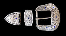 "Western Cowboy/Cowgirl Decoament Crystal Silver Plated 1 1/2"" Buckle Set Bling"