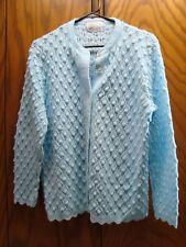 Vintage Retro Blue Eyelet Secretary Rockabilly Cardian Sweater by Billie Jo