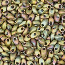 Miyuki Long Magatama Seed Beads 4x7mm Matt Metallic Khaki Iris 8.5g Tube (C67/1)