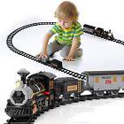 Electric Train Set Lights Sounds Smoke Engine Choo Choo 3 Cars Locomotive New
