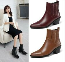 Womens Fashion Pointed Toe Elastic Top Block Heel Western Ankle Boots Shoes MMOM