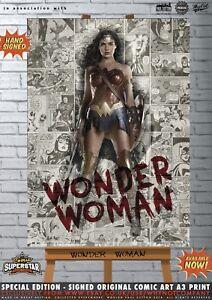 Wonder Woman Gal Gadot Sexy Justice League Comic SUPERSTAR A3 Signed Print DC