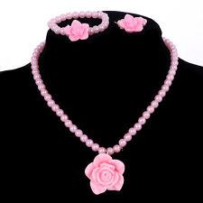 Para mujeres niñas Perla Flor Colgante Collares, Pulseras, Anillos Rosa Conjunto de eBay