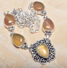 "Sterling Silver Necklace 21"" #N00683 Handmade Natural Fluorite Gemstone 925"