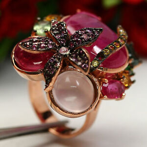 NATURAL 15X19mm. RED RUBY ROSE QUARTZ SAPPHIRE CHROME DIOPSIDE...RING 925 SILVER