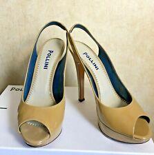 POLLINI High Heels Stiletto Mules Shoes, BEIGE,  EU 37 US 6 UK 4 - MINT, In Box