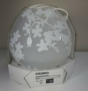 """Ikea KNUBBIG Round Glass Table Lamp Cherry-Blossoms White 7"""" NEW"""
