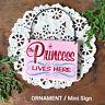 DecoWords Ornament Mini Wood Sign PRINCESS LIVES HERE Office DoorKnob Decor Gift