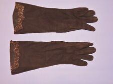 Vintage 1940's Brown Suede Gloves w Copper Beading Med