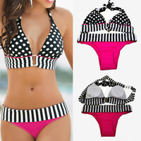 Plus size Black and White Stripe Polka Dot Sport Bikini set Swimsuit Swimwear