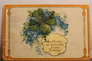 Greetings Kind Thoughts Best Wishes For Your Birthday Postcard Old Vintage Card