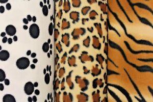 "Printed Polar Anti Pill Fleece, Cheetah, Tiger, Paw Print, Super Soft, 60"" Wide"