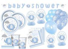 XXL 65 Teile Baby Elefant Blau Babyshower Set 16 Personen Baby Party + Geburt