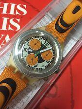 Swatch IRONY Diaphane Chrono New In Box  aluminium Orange SVCO4000 SPEED PEAK