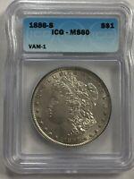 1886 S  ~  MORGAN DOLLAR 90% SILVER ICG MS 60 CERTIFIED VAM-1
