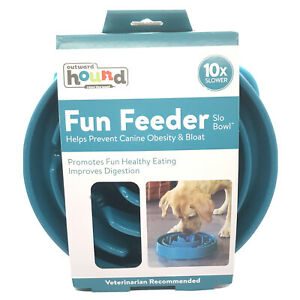 Outward Hound Fun Feeder Slo Bowl 10x Slower  Helps Prevent Canine Obesity Bloat