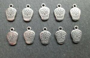 10 x Sugar Skull Charms, 12 x 12 mm, Keyring Charms, Jewellery Making, UK Seller
