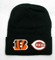 READ ALL! Cincinnati Bengals/Reds Heat Applied Flat Logos on Beanie Knit Cap hat