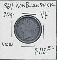 NEW BRUNSWICK - BEAUTIFUL HISTORICAL QV SILVER 20 CENTS, 1864, KM# 9