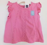 NWT Gap Baby Girl Lace Insert Pink Top Flutter Sleeve 6-12M Free Shipping NEW