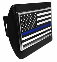 Police Thin Blue Line Black & White USA Flag Chrome Metal Black Hitch Cover