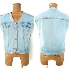 New Vintage 90s Rockstar Faded Jean Vest Size Medium Blue Retro Denim Punk