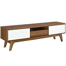 "59"" MID CENTURY MODERN LED LCD DLP HD WALNUT & WHITE MEDIA TV STAND CREDENZA"