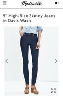 MADEWELL High-Rise (Waisted) Skinny Jeans in Davis Wash (Dark Denim) 24 NWT
