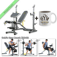 Gold Gym XRS 20 Olympic Weight Bench with Rack Workout FID Golds Press with Mug