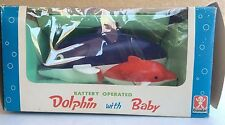 Rare 1968 Bandai Dolphin w/ Baby Vintage Toy Made In Japan