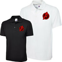 Embroidered Polo Shirt Avengers Logo Superhero Marvel Ironman Captain America