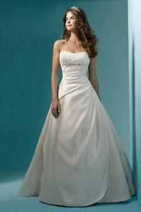 UK Stock Beading Satin Wedding Dress Size 8 10 12 14 16 18 20 22 Custom Made
