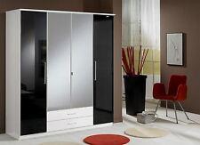 German 4 Door Black Gloss and White Mirror Wardrobe NEW