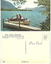 postcard Lake George Campsite Girls on Boat Huletts Landing Elephant Mt. Tongue