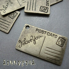 6 Antique Bronze Tone Kitsch Letter Postcard Charms Vintage Bronze