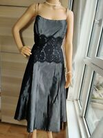 LAURA ASHLEY  LACE EMBELLISHED FITTED DRESS SIZE UK 10 US 6 APPROXIMATE GREY
