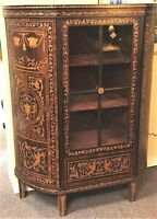 19th Century Dutch Marquetry Curio Cabinet